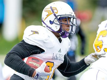 WATERLOO -- Dillon Campbell, a Whitby resident and graduate of St. Mary, became the all-time career rushing yards leader for the Laurier Golden Hawks in their 42-0 win over Waterloo. He rushed for 241 yards in the game, and now has 3,069 for his career. October 2015