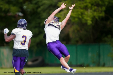 Waterloo , ON - AUG 12, 2018: 2018 Wilfrid Laurier Men's Football training camp Day 4 action. (Photo by Christian Bender)