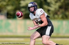 Waterloo , ON - AUG 14, 2018: 2018 Wilfrid Laurier Men's Football training camp Day 6 action. (Photo by Christian Bender)
